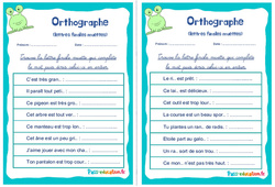 Les lettres finales muettes - Ce1 - Ce2 - Rituels - Orthographe