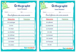 Les noms féminins - Ce1 - Ce2 - Rituels - Orthographe