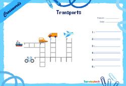 Means of transport - CE1 - CE2 - Mots fléchés - Lexique / vocabulaire - Crosswords