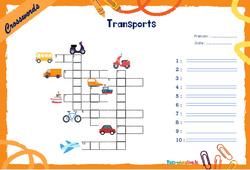 Means of transport - CM1 - CM2 - Mots fléchés - Lexique / vocabulaire - Crosswords