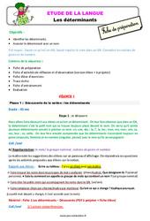Les déterminants – Ce1 – Étude de la langue – Fiche de préparation