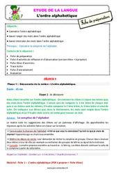 L'ordre alphabétique - chercher un mot dans le dictionnaire – Ce2 – Étude de la langue – Fiche de préparation
