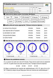 Les unités de mesure de durées – Ce1 – Evaluation avec la correction