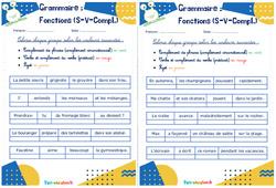 Fonctions (Sujet - verbe - complément) - Ce1 - Ce2 - Rituels - Grammaire