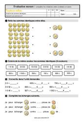Connaître les relations entre centimes et euros – Ce1 – Evaluation avec la correction