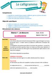 Le calligramme - Ce1 - Ce2 - Projets d'écriture - Production d'écrit - Rédaction - Fiche de préparation