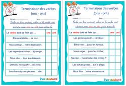 Terminaison des verbes (ons - ont) - Ce1 - Ce2 - Rituels - Conjugaison