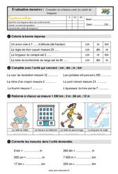 Connaître les relations entre les unités de longueur – Ce1 – Evaluation avec la correction