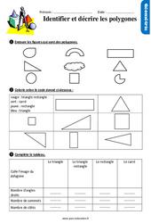 Identifier et décrire les polygones – Ce1 – Exercices avec les corrigés