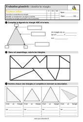 Identifier les triangles – Ce2 – Evaluation avec la correction