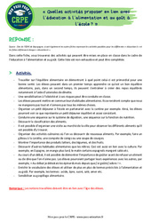 Quelles activités proposer en lien avec l'éducation à l'alimentation et au goût à l'école? – CRPE2022