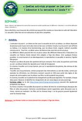 Quelles activités proposer en lien avec l'éducation à la sexualité à l'école? – CRPE2022