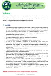 Quelles activités proposer pour travailler l'éducation au développement durable à l'école? – CRPE2022