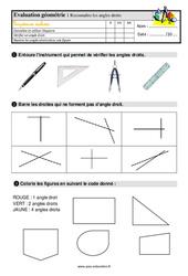 Reconnaître l'angle droit – Ce1 – Evaluation avec la correction