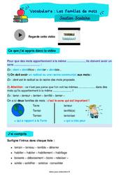 Les familles de mots - Cm1 - Soutien scolaire pour les élèves en difficulté.