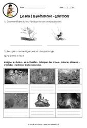 Le feu à la préhistoire  - Ce2 - Cm1 - Exercices - Paléolithique