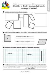 Identifier et tracer des quadrilatères : le rectangle et le carré – Ce2 – Exercices avec les corrigés