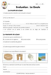La Gaule – Ce2 – Cm1 – Evaluation sur la conquête et la romanisation