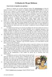 Civilisation de l'île par Robinson – 5ème – Récit – Lecture