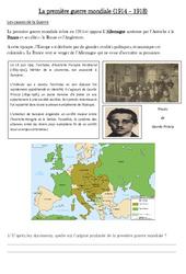 1ère guerre mondiale - XXe siècle - Cm2 - Cycle 3: Exercices
