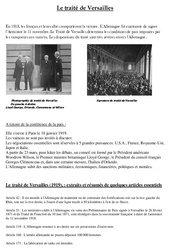 Traité de Versailles - 1ère guerre mondiale -  XXe siècle - Cm2 - Cycle 3 - Exercices
