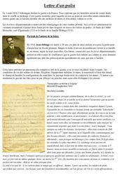 La lettre d'un poilu – 1ère guerre mondiale – XXe siècle – Cm2 – Cycle3 – Exercices