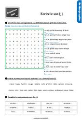 Exercices, révisions sur écrire le son [j] au CM1 avec les corrections