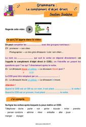 Le complément d'objet direct (COD) au Cm1 - Soutien scolaire pour les élèves en difficulté