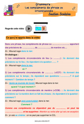 Les compléments de phrase ou circonstanciels - Cm2 - Soutien scolaire pour les élèves en difficulté