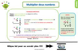 Leçon, trace écrite sur multiplier deux nombres au Ce1