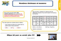 Leçon, trace écrite sur les nombres décimaux et mesures - Cm1
