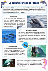 Le dauphin : le prince de l'océan - Ce1 - Ce2 - Lecture documentaire