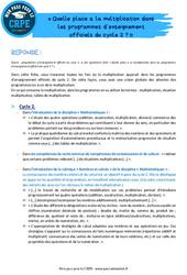 Quelle place a la multiplication dans les programmes d'enseignement officiels du cycle 2? – CRPE2022