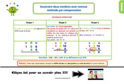 Leçon, trace écrite sur soustraire deux nombres avec retenue, méthode par compensation au Ce1