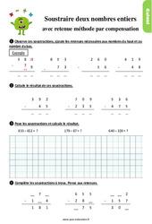 Exercices, révisions sur soustraire deux nombres avec retenue, méthode par compensation au Ce1 avec les corrigés