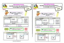 Identifier et tracer des quadrilatères : le rectangle et le carré au Ce1 – Leçon