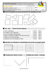 Identifier et tracer des quadrilatères : le rectangle et le carré au Ce1 – Evaluation avec la correction