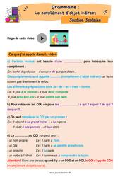 Le complément d'objet indirect (COI) - Cm1 - Soutien scolaire pour les élèves en difficulté