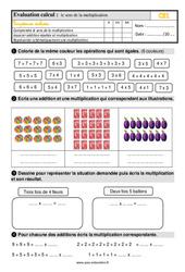 Évaluation, bilan sur le sens de la multiplication au Ce1 avec la correction