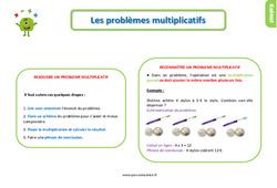Leçon, trace écrite sur les problèmes multiplicatifs au Ce1