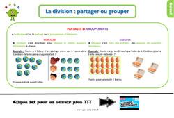 Leçon, trace écrite sur la division : partager ou grouper au Ce1