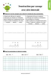 Exercices, révisions sur soustraire deux nombres avec retenue - Méthode par cassage avec zéro intercalé au Ce1 avec les corrigés