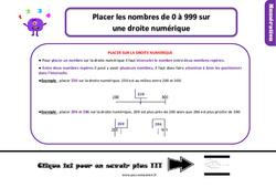 Leçon, trace écrite sur placer les nombres de 0 à 999 sur la droite numérique au Ce1