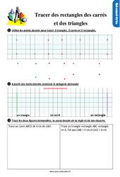 Exercices, révisions sur tracer des rectangles, des carrés et des triangles au Ce1 avec les corrections