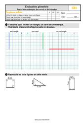 Évaluation, bilan sur tracer des rectangles, des carrés et des triangles au Ce1 avec la correction