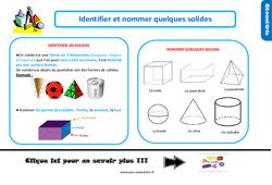 Leçon, trace écrite sur identifier et nommer les solides au Ce1