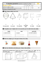 Évaluation, bilan sur identifier et nommer les solides au Ce1 avec la correction