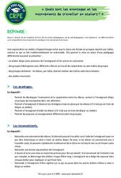 Quels sont les avantages et les inconvénients de travailler en ateliers? - CRPE2022