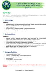 Quels sont les avantages et les inconvénients du travail en grand groupe? - CRPE2022