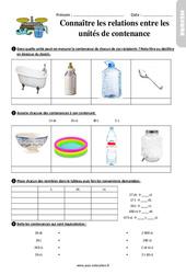 Connaître les relations entre les unités de contenance - Ce2 - Exercices à imprimer
